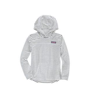 GIRLS STRIPED VELOUR SHEP HOODIE MARSHMALLOW
