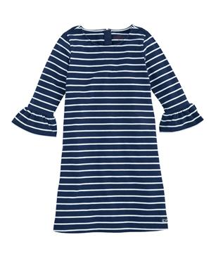 GIRLS STRIPE RUFFLE DRESS NAVY STRIPE