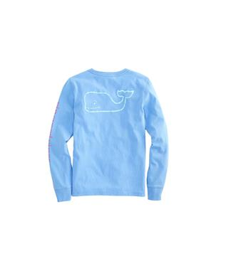 GIRLS LONG SLEEVE TRI-TONE VINTAGE WHALE POCKET TEE HYDRANGEA