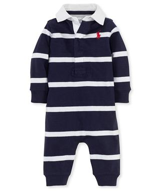 BABY BOY RUGBY STRIPE COVERALL ROYAL
