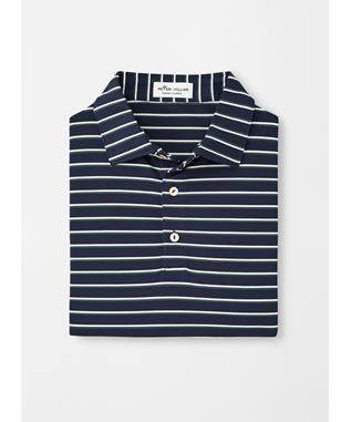 COLEY STRIPE STRETCH MESH POLO NAVY