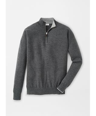 CROWN COMFORT CASHMERE/SILK QUARTER ZIP CHARCOAL