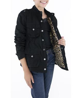 MILITARY FUR LEOPARD JACKET BLACK