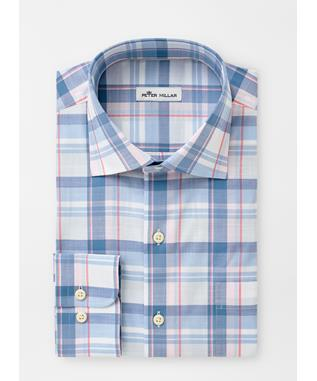 MILO COTTON-BLEND SPORT SHIRT LAKE BLUE