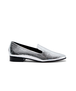 FLOR METALLIC LOAFER FLAT SILVER