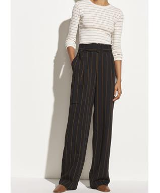 Belted Striped Wide Leg Pant
