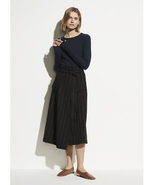 Belted Striped Utility Skirt