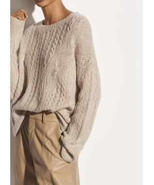 OPEN KNIT CABLE CREW 281 LT H TAUPE