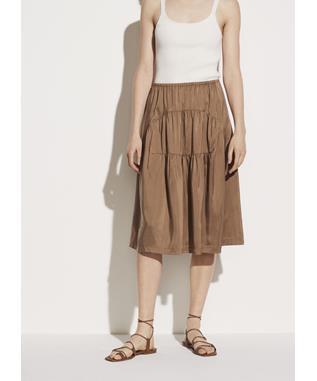 Shirred Silk Habotai Panel Skirt