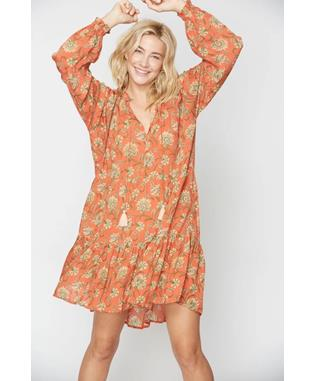 VINE FLORAL JANNI DRESS ORANGE