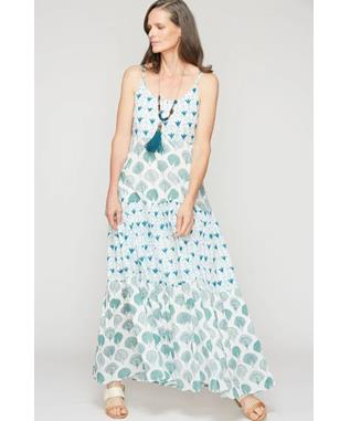 DANCING FLOWERS DAKOTA MAXI DRESS WHITE