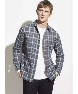 DBL FACE PLAID MED H GREY