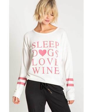 ALL THINGS LOVE SLEEP DOGS LOVE WINE L/S IVORY