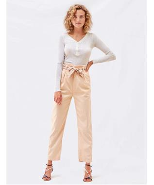 PAPERBAG TROUSER WITH HEART EMBROIDERY