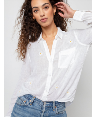CHARLI TOP WHITE DAISY EMBROIDERY