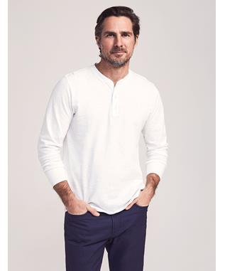 SUNWASHED LS HENLEY WHITE