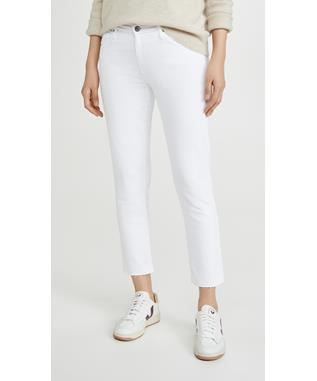 PRIMA CROP WHITE DENIM W/ RAW HEM