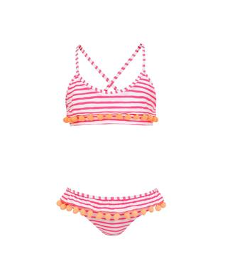 GIRLS HOT PINK STRIPE POM POM FRILL BIKINI PINK/WHITE