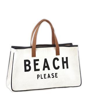 CANVAS TOTE - BEACH PLEASE NATURAL