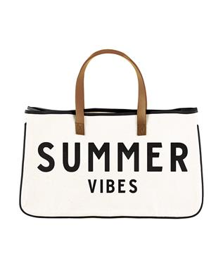 CANVAS TOTE - SUMMER VIBES NATURAL