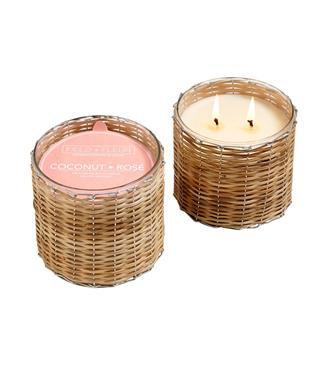 COCONUT ROSE 2 WICK WOVEN CANDLE