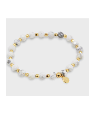 POWER GEMSTONE ELASTIC BRACELET CALMING GOLD / HOWLITE