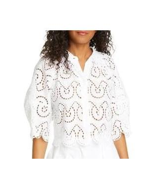 LONG SLEEVE MINA EYELET TOP