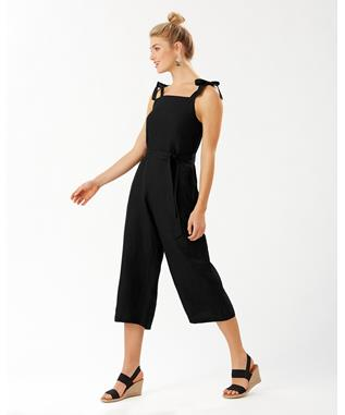 LINEN VISCOSE CROPPED JUMPSUIT