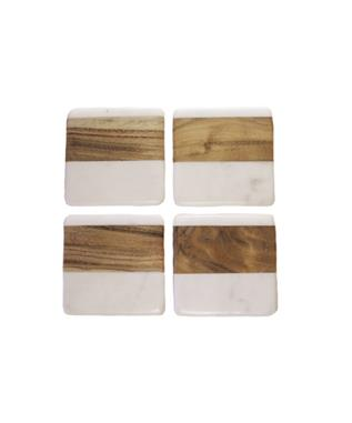 WHITE MARBLE AND WOOD SQUARE COASTERS