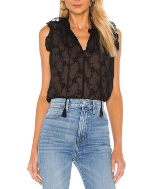 SLEEVELESS VINE EMBROIDERY TOP