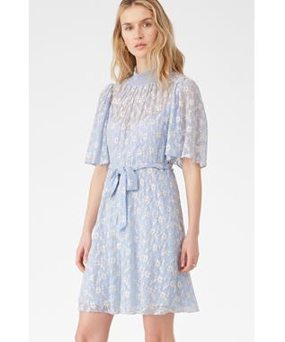 SHORT SLEEVE VINE EMBROIDERY DRESS