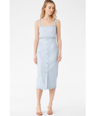 SLEEVLESS SLUB DENIM DRESS