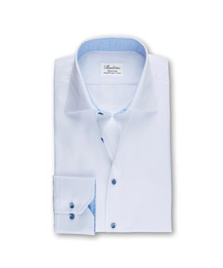 WHITE SHIRT W/BLUE NEAT TRIM