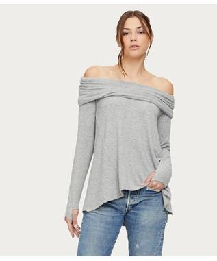 MADISON BRUSHED L/S COWL NK TEE