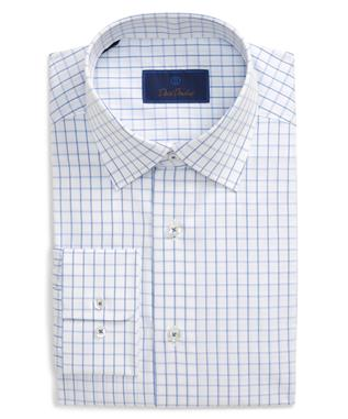 BLUE/WHITE WINDOWPANE SHIRT