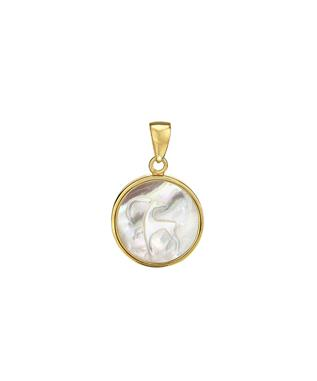 14K CHARM W/ MOTHER OF PEARL ZODIAC SIGN