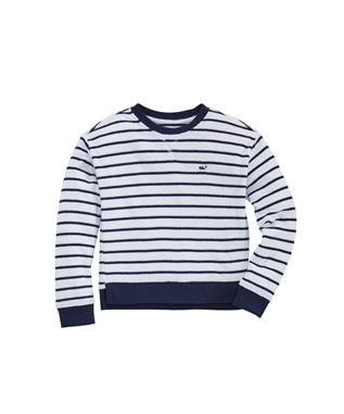 STRIPE HI-LOW CREWNECK PULLOVER