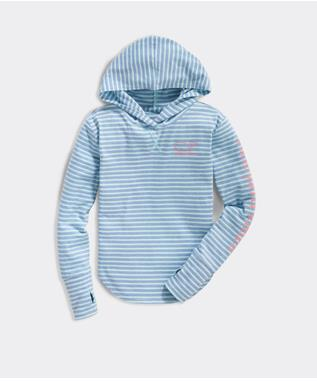 STRIPED RELAXED HOODIE WITH THUMBHOLES