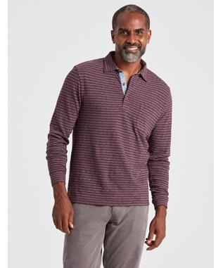 LS LUXE STRIPED HEATHER POLO