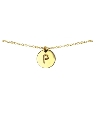 LETTER DISC NECKLACE P