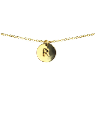 LETTER DISC NECKLACE R