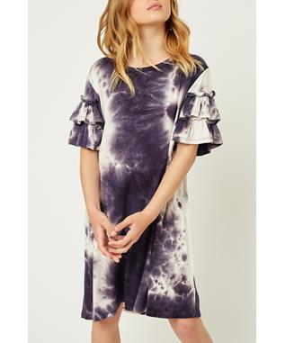 TIE DYE RUFFLE SLEEVE T-SHIRT DRESS