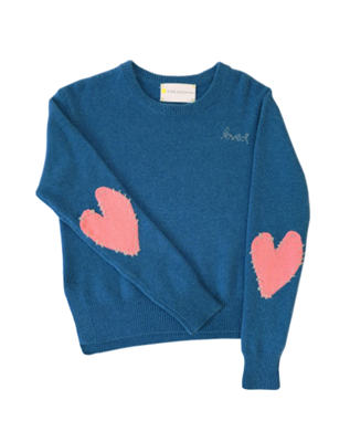 PATCHWORK LOVE CASHMERE WITH PINK HEARTS