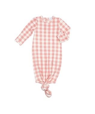PINK GINGHAM KNOTTED GOWN