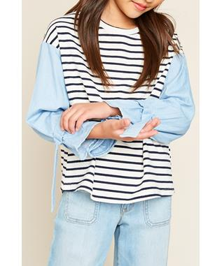 STRIPE TOP WITH CUFF DETAIL