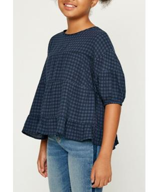 PLAID RUFFLE PUFF SLEEVE TOP
