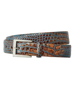 1 3/8 EMBOSSED TWO TONED CROC BELT