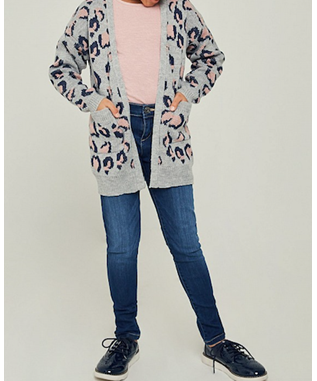 Leopard Knit Sweater Cardigan