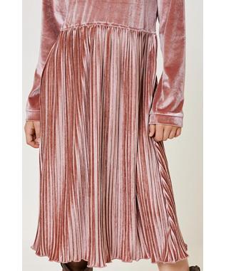 Velvet Pleat Midi Dress