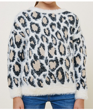 Leopard Mohair Pullover Sweater Top